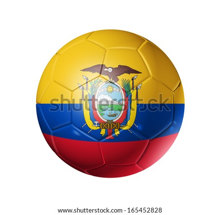 3D soccer ball with Ecuador team flag, football concept. isolated on white with clipping path