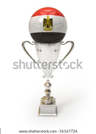 3D soccer ball with Egyptian team flag on trophy cup - stock photo