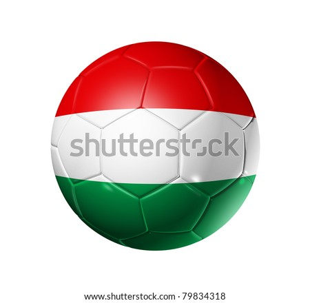 3D soccer ball with Hungary team flag. isolated on white with clipping path