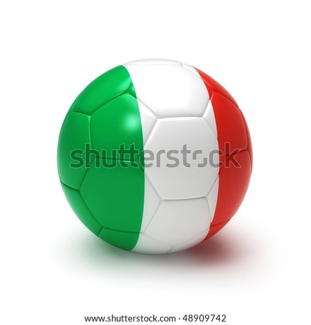 3D soccer ball with Italy team flag, world football cup 2010. Isolated on white with