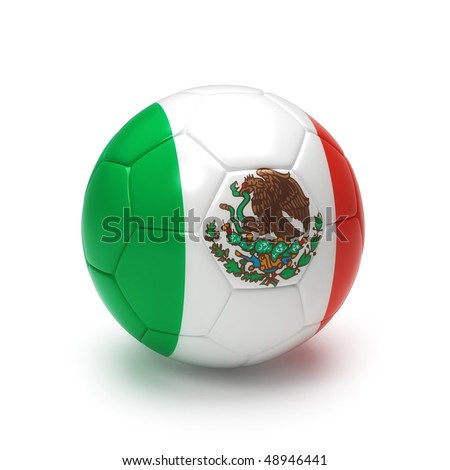 3D soccer ball with Mexico team flag, world football cup 2010. Isolated on white
