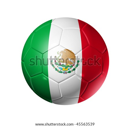 3D soccer ball with Mexico team flag, world football cup 2014. isolated on white with clipping path - stock photo