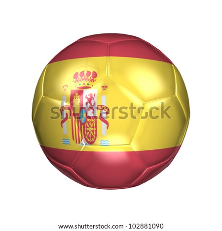 3D soccer ball with national flag. Country Spain