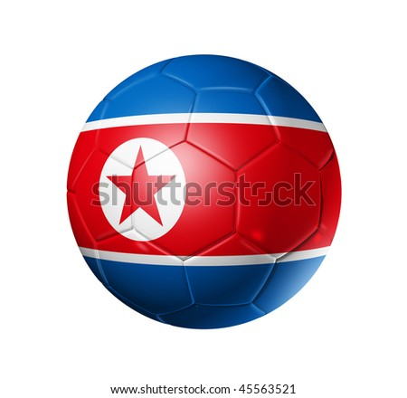3D soccer ball with north Korea team flag, world football cup 2010. isolated on white with clipping path
