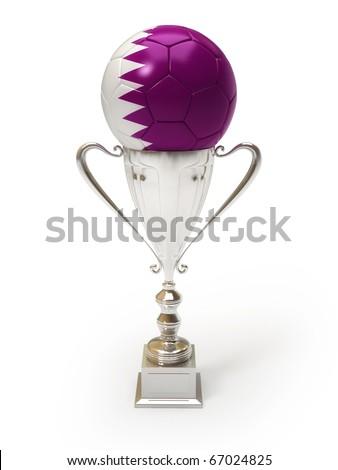 3D soccer ball with Qatari team flag on trophy cup