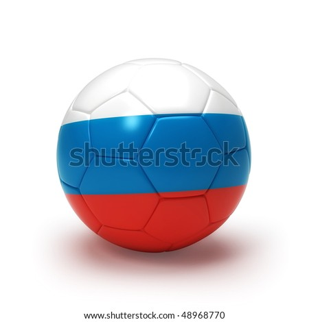 3D soccer ball with Russian flag, world football cup 2010. Isolated on white