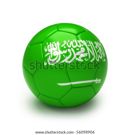 3D soccer ball with Saudi Arabian flag isolated on white - stock photo