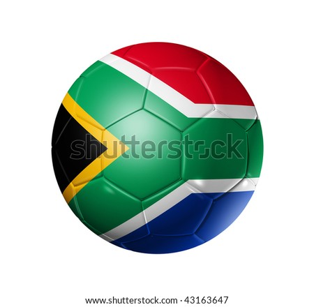 3D soccer ball with south africa flag, world football cup 2010. isolated on white with clipping path