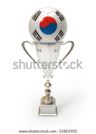 3D soccer ball with South Korean team flag on trophy cup - stock photo