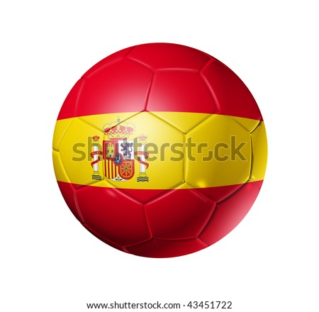 3D soccer ball with Spain team flag, world football cup 2010. isolated on white with clipping path - stock photo