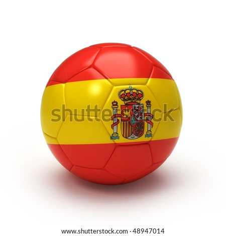 3D soccer ball with Spain team flag, world football cup 2010.lated on Iso white