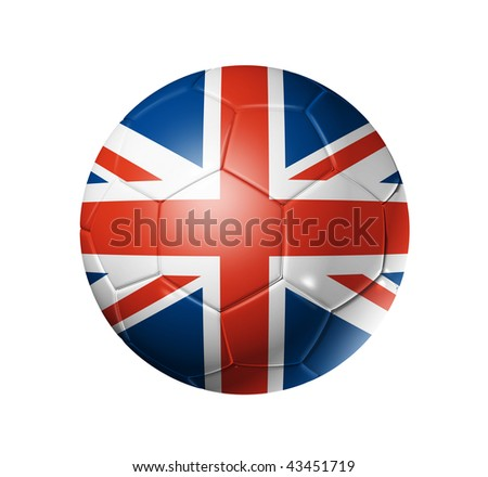 3D soccer ball with United Kingdom team flag, world football cup 2010. isolated on white with clipping path