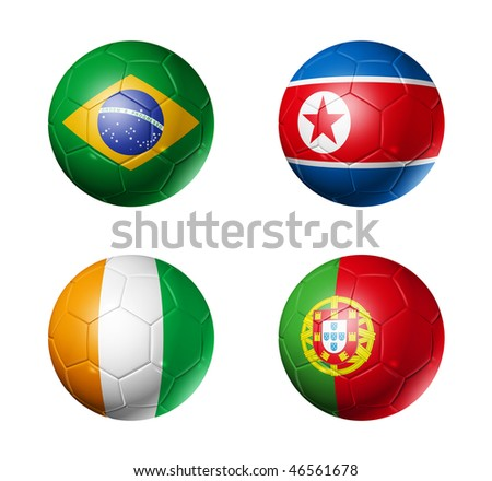 3D soccer balls with group G teams flags, world football cup 2010. isolated on white
