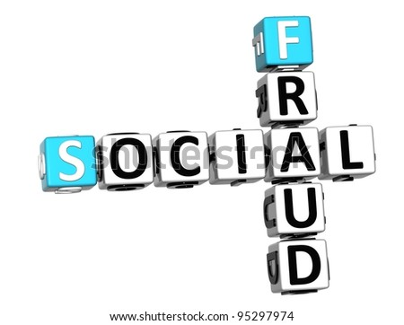 3D Social Fraud Crossword over white background