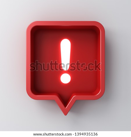 3d social media notification neon light Exclamation mark icon in red rounded square pin isolated on white background with shadow 3D rendering