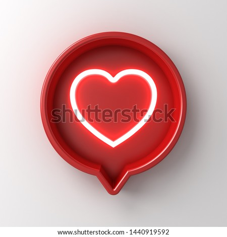3d social media notification neon light like heart icon in red round pin sign box isolated on white wall background with shadow 3D rendering