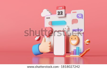 3D Social media platform, online social communication applications concept, emoji, webpage, search icons, chat and chart with smartphone background. 3d illustration Сток-фото ©