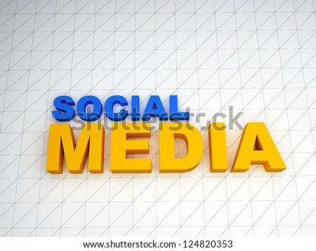 3d social media text on white background