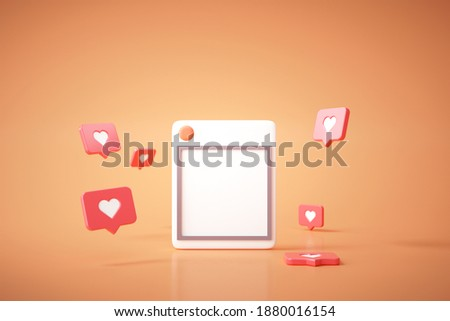 3D Social Media with photo frame, like button on yellow background illustration.