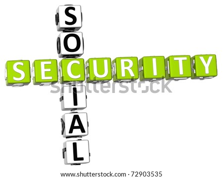 3D Social Security Crossword on white background