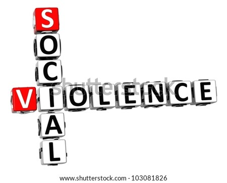 3D Social Violence Crossword on white background