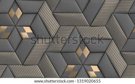 3D soft geometry tiles made from gray leather with golden decor stripes and rhombus. High quality seamless realistic texture.