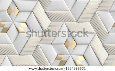 3D soft geometry tiles made from white leather with golden decor stripes and rhombus. High quality seamless realistic texture.
