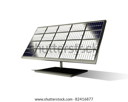 3d  solar cell o the white background
