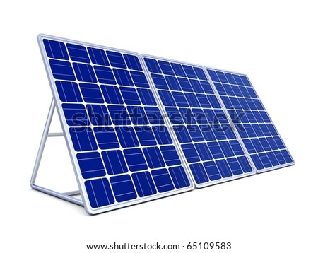 3d solar panel isolated on white background - stock photo