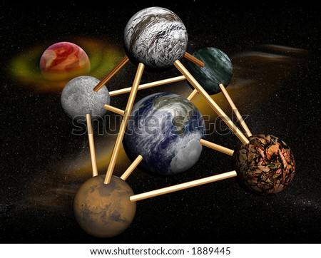 3D Solar system,planets connected with pyramid and saturn on the background