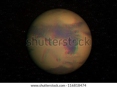 3D solar system series: Mars with stars in the background. View anaglyph with red/cyan glasses. Elements of this image furnished by NASA.