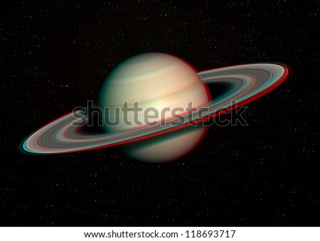3D solar system series: Saturn with stars in the background. View anaglyph with red/cyan glasses. Elements of this image furnished by NASA.