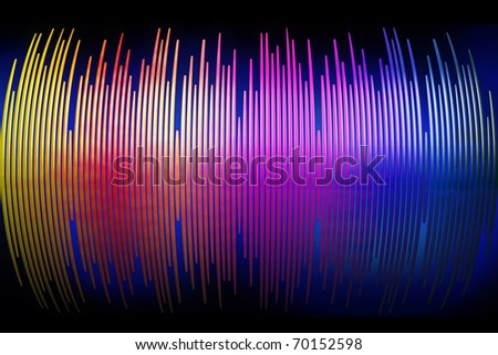 3d sound waves spectrum background isolated on black