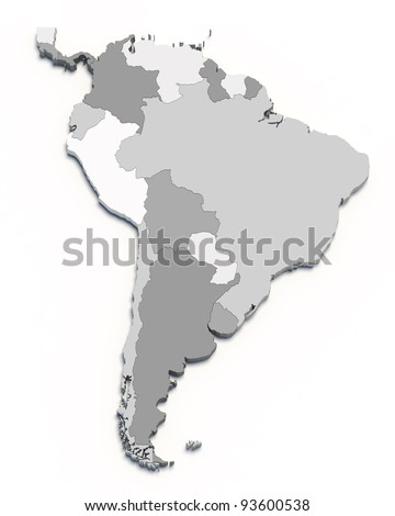 3D south america map on white isolated - stock photo