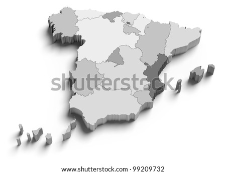 3d Spain grey map on white isolated