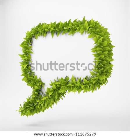 3D speech bubble surrounded by leafs