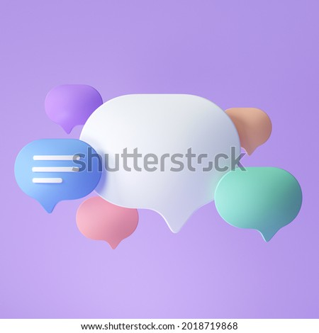 3D speech bubbles for text replacement, chatting or message box, social media chatting concept. 3d render illustration