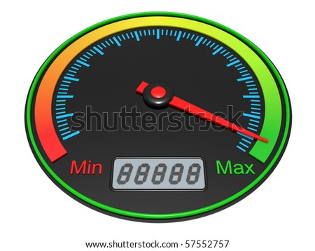 3D Speedometer isolated on a white background