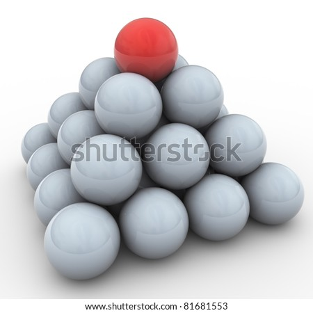 3d spheres pyramid. Concept of leadership, teamwork, unique