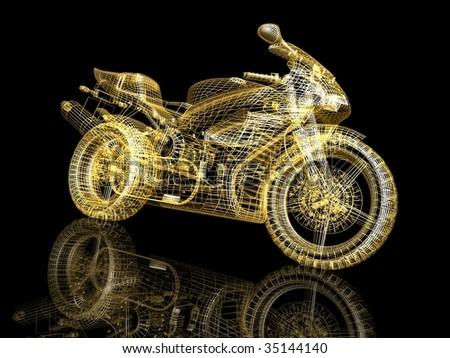 3d sport bike - stock photo