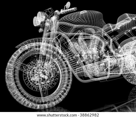 3d sport bike black background