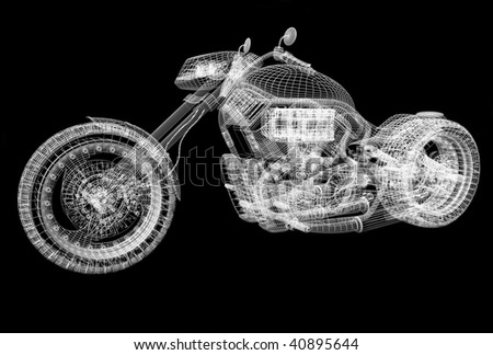 3d sport bike black background with reflection