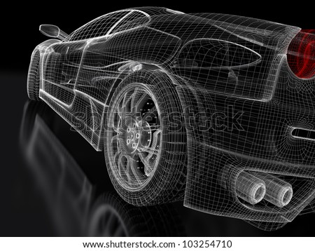 3d sport car model on a black background. 3d rendered image