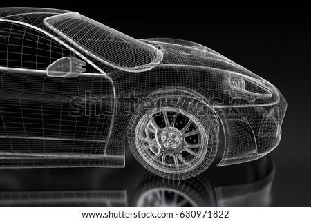 3d sport car vehicle blueprint model on a black background. 3d rendered image