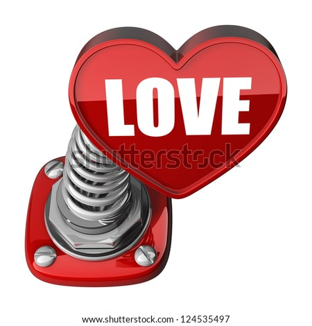 3d spring button heart LOVE. isolated on white background. High resolution render