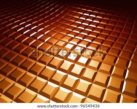 3d square pattern, brown chocolate background - stock photo