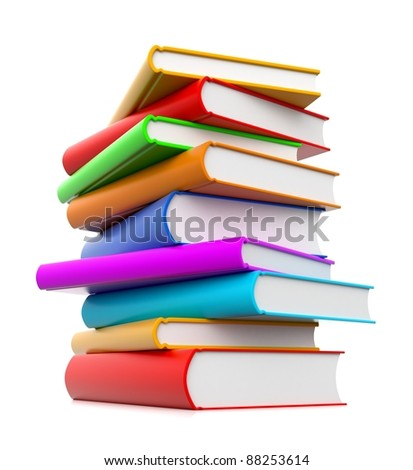 3d stack of books in rainbow colors