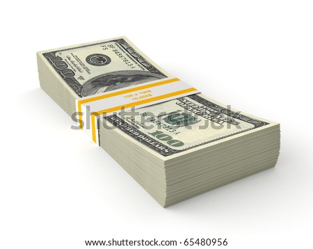 3d stack of dollars