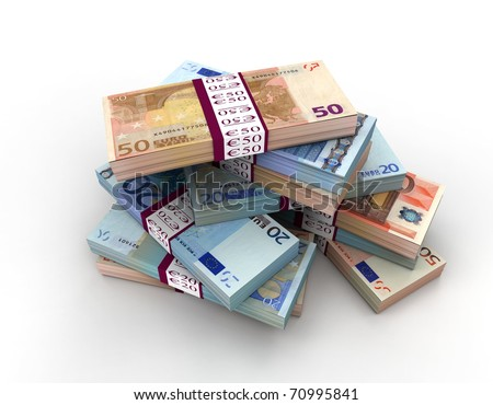 3D stack of 20, 50 euro bills