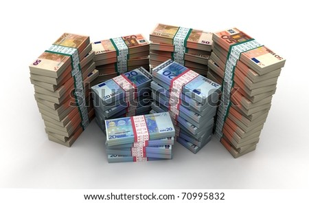 3D stack of 20, 50 euro bills collection
